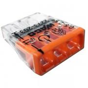 Set 10 conectori cu fixare prin impingere 3 conductoare 2,5mm2 24A Wago 2273-203