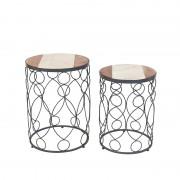 QAZQA Set di 2 tavolini MARM calcestruzzo con marmo e legno