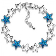 Om Jewells Fashion Jewellery Rhodium Plated Blue Crystal Star Adjustable Bracelet for Girls and Women BR1000030