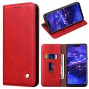 Capa Tipo Carteira Retro para Huawei Mate 20 Lite - Vermelho