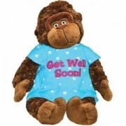 """Plush GET WELL SOON Gorilla - 15.5"""" MONKEY with HOSPITAL Gown Cheer UP GIFT Hope you FEEL BETTER/After SURGERY GIFT/INJURY/HOSPITALIZATION Brighten SOMEONE'S DAY Adult or Child - SICKNESS ILLNESS"""