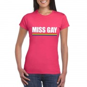 Bellatio Decorations Gay Pride lesbo shirt roze Miss Gay dames M - Feestshirts