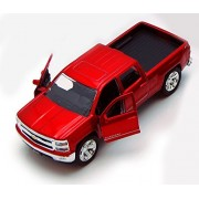 Chevy Silverado Pickup Truck, Red Jada Toys Just Trucks 97017 1/32 Scale Diecast Model Toy Car