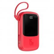 Baterie externa Baseus Q pow Digital Display 3A 10000mAh 2x USB / USB Typ C Rosie