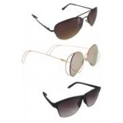Urbantra Aviator, Wayfarer, Over-sized Sunglasses(Pink, Black, Brown)