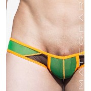 Mategear Ran Kwang V Flat Front Reduced Sides Mesh Series Mini Square Cut Trunk Swimwear Green 1740401