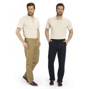 Baumwollhose mit Teil-Dehnbund, 2 Gesäßtaschen mit Reißverschluß, Farbe marine, Gr.25