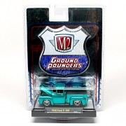 1956 Ford F-100 (Metallic Teal) * M2 Machines Ground Pounders Release 4 * 2010 Castline Premium Edition 1:64 Scale Die-Cast Vehicle (10-13)