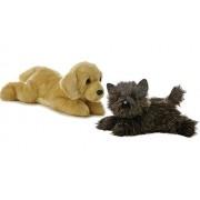 """Aurora World Flopsie Dogs Toto Black Terrier And Goldie Golden Labrador Retriever Set Of 2 Plush 12"""" Puppies"""