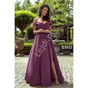 Wieczorowa suknia z odkrytymi ramionami zmysłowa długa suknia w kolorze śliwkowym ELIZABETH