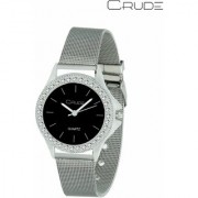 Crude Smart Analog Black Dial Watch-rg413 With Stainless Steel Strap