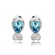 Kék kristályos halacska fülbevaló