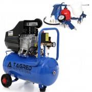Set Compresor de Aer cu Ulei Tagred Mobil cu Separator, 24L, 4 CP, 8 Bar, 255 L/min + Pistol de Vopsit cu Accesorii 8-in-1