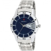 Svviss Bells Original Blue Dial Silver Steel Chain Day and Date Multifunction Chronograph Wrist Watch for Men - SB-1057