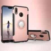 Para Huawei P20 Lite 360 Grados De Rotacion Anillo Magnetico De Armadura Protectora Caso Volver Funda (oro Rosa)