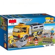 EREIN All New City Engineering Road Repair Vehicle Carrier Truck Cogo Building Block Brick Toy ( 263 Pc)