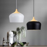 E27 30CM Simple Modern LED Ceiling Light Wood Metal Pendant Lamp Black/White AC110-256V