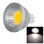 MR16 GU5.3 5W 400lm 3500K 1-COB LED bombilla de luz blanca calida-plata (DC 12V)