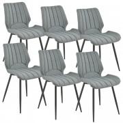 [en.casa]® Silla de comedor Pohorje - 77 x 57,5 x 46 cm - Set de 6 sillas de diseño - Acolchado - De Tela - Gris oscuro