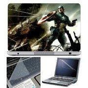 FineArts Laptop Skin Captain America Fighting With Screen Guard and Key Protector - Size 15.6 inch
