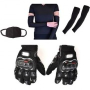 Combo Pack For Pro Biker Gloves Black-XL+Arm Sleeve Pollution Mask-Black