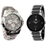 IIK Collection Round Dial Black Silver Metal Strap Quartz Watch for Men (Combo of 2)