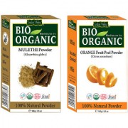 Indus valley Bio Organic Mulethi + Orange Peel Powder Combo-Set of 2