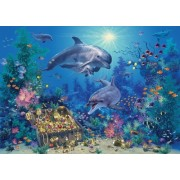 White Mountain Puzzles Dolphin Treasures - 100 Piece Jigsaw Puzzle