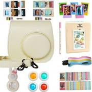 Alohallo Instant Camera Accessories for FujiFilm Instax Mini 8 Camera with Camera Case Close-Up Lens Mini Album Color Frame Sticker Borders Strap Pens Filter Blue white dots Cream Bundles Set(11 items)