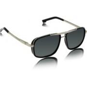 fashion sunglasses Rectangular Sunglasses(Silver, Black)