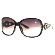 Kenneth Cole Reaction Sunglass Black Rectangle Plastic, Smoke Gradient Lens 1B