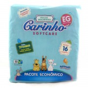 Fralda Descartável Infantil Carinho Softcare Premium Extra Grande Com 16 Unidades