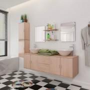 vidaXL Set mobilier baie format din 9 piese cu chiuvete incluse, Bej