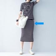 イタリア糸 総針編み ボーダータイトスカート