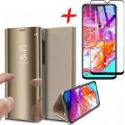 iCall - Samsung Galaxy A70 Hoesje + Screenprotector Full-Screen - Spiegel Lederen Book Case met Tempered Glass Gehard Glas - Goud