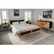 vidaXL Sovrumsmöbler 4 delar massivt akaciaträ 140x200 cm