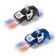 Track Car Light Up Toy Police Car Glow in the Dark Racing Track with 5 Spectacular Flashing LED Lights Accessories Compatible with Most Tracks(Pack of 2)