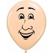 Merkloos Mini ballonnetje met mannen gezicht 13 cm