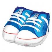Babacipő, kék, fólia lufi, 45 cm