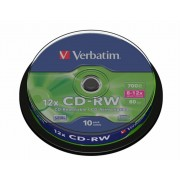 CD-RW lemez, újraírható, SERL, 700MB, 8-10x, hengeren VERBATIM (CDVU7010B10)