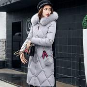 Abrigo Mujer Elegante Collar Fur Hooded Down Jacket Overknee Abrigo De Algodón - Gris
