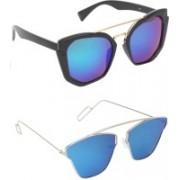 Pogo Fashion Club Butterfly, Retro Square Sunglasses(Blue, Multicolor)
