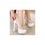 zapatos de tacon encaje de estilo elegante de color blanco en forma de voca de pez