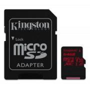 Kingston Canvas React microSDXC 64GB (Class 10), U3 UHS-I, V30 memóriakártya adapterrel (SDCR/64GB)