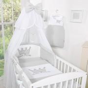 My Sweet Baby Bedset 3-Delig Little Prince/Princess Voile Grijs-Borduursel - Princess