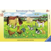PUZZLE ANIMALE PE PAJISTE, 15 PIESE (RVSPC06046)