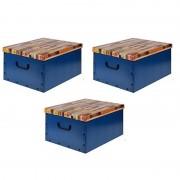 Merkloos 3x Opbergboxen/Opbergdozen blauw 50 x 38 cm