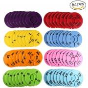 Round Hangers Closet Dividers, Size XXS To XXXL (64 Piezas 8 Colores)