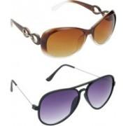 Hrinkar Over-sized Sunglasses(Brown, Violet)