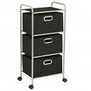 vidaXL Етажерка с 3 кутии за съхранение, стомана и нетъкан текстил